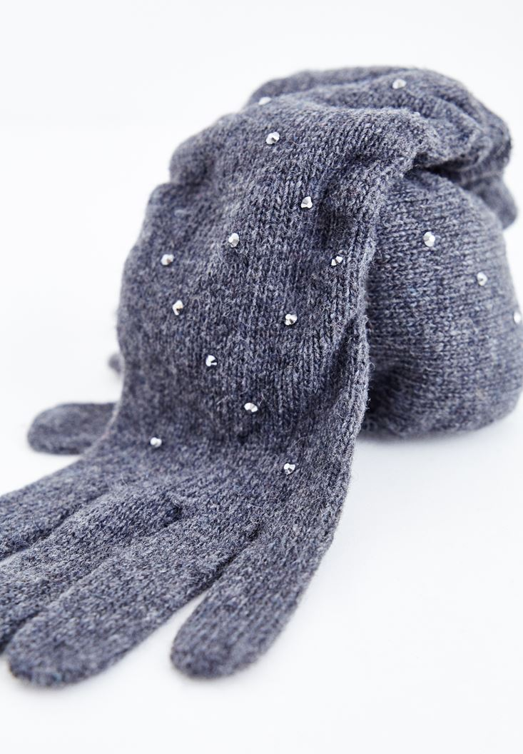 Grey Long Glove with Check Stamp