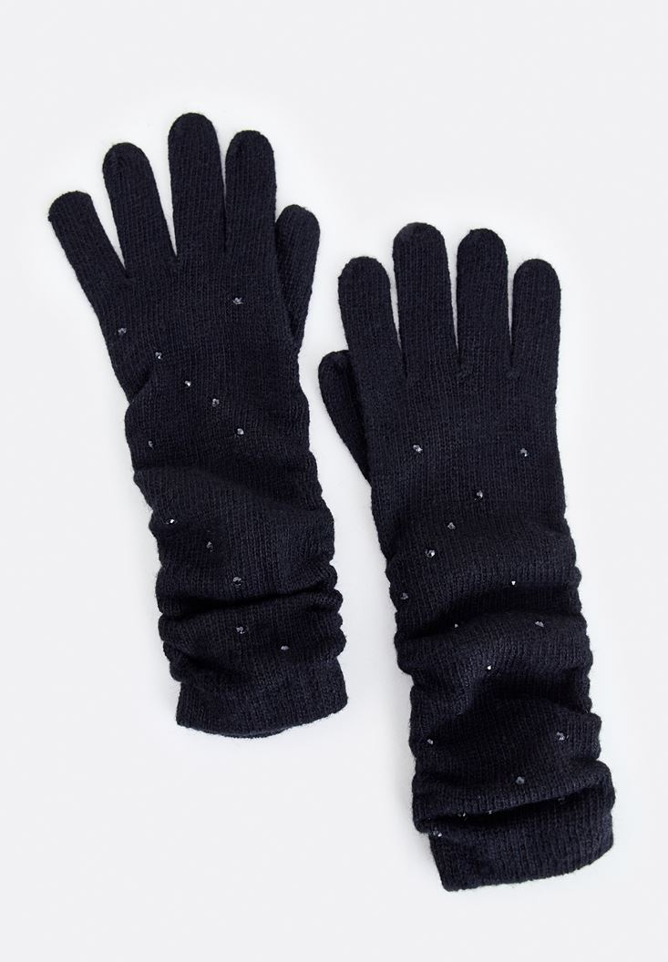 Black Long Glove with Check Stamp