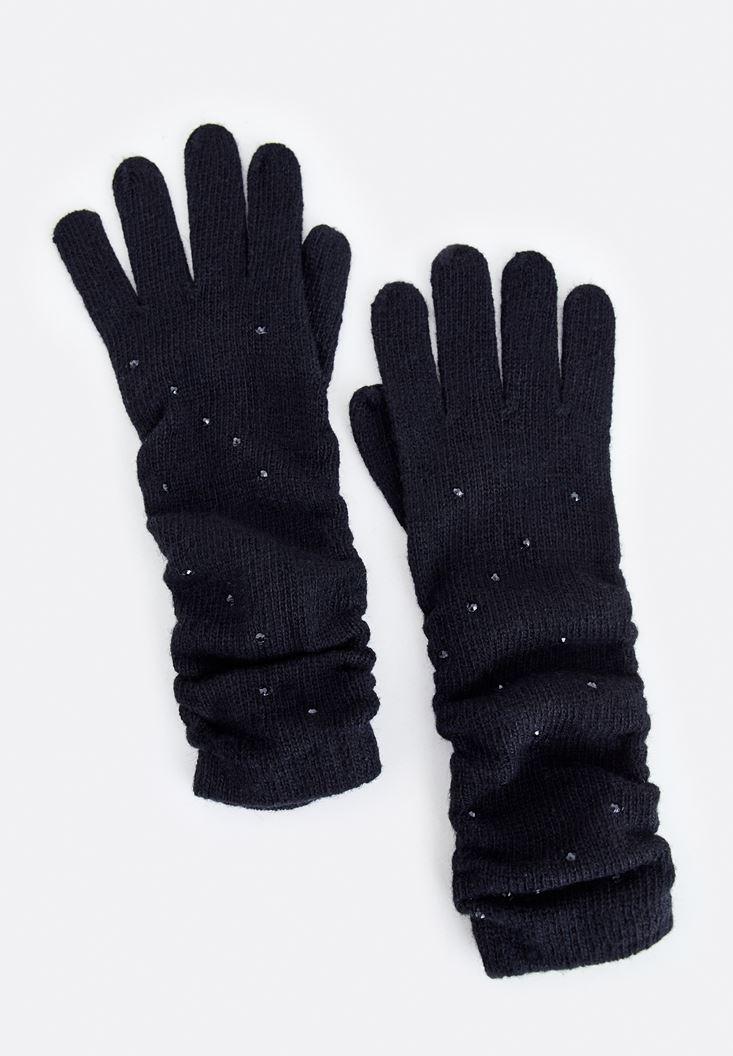 Siyah Pul Detaylı Uzun Eldiven
