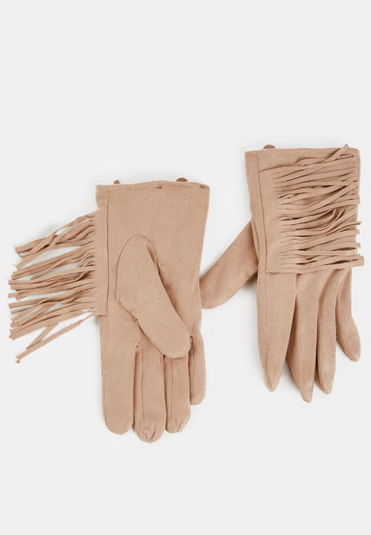 Brown Glove with Fringe