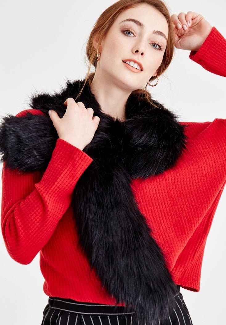 Black Fake Fur Shawl with Details
