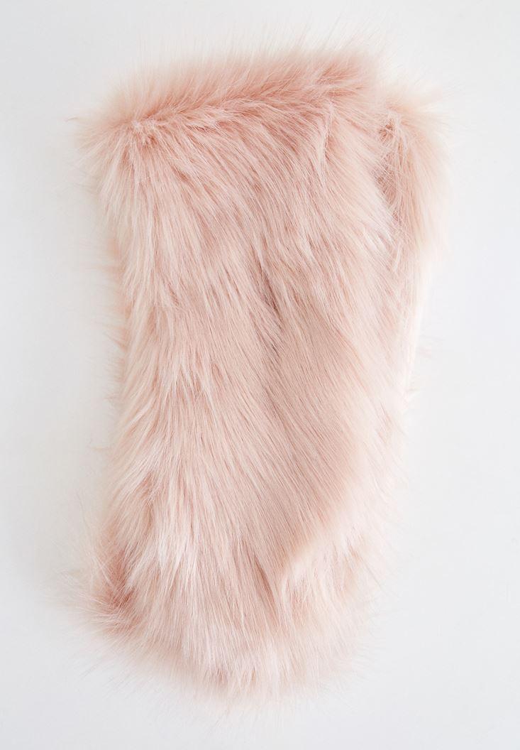 Pink Fake Fur Shawl with Details