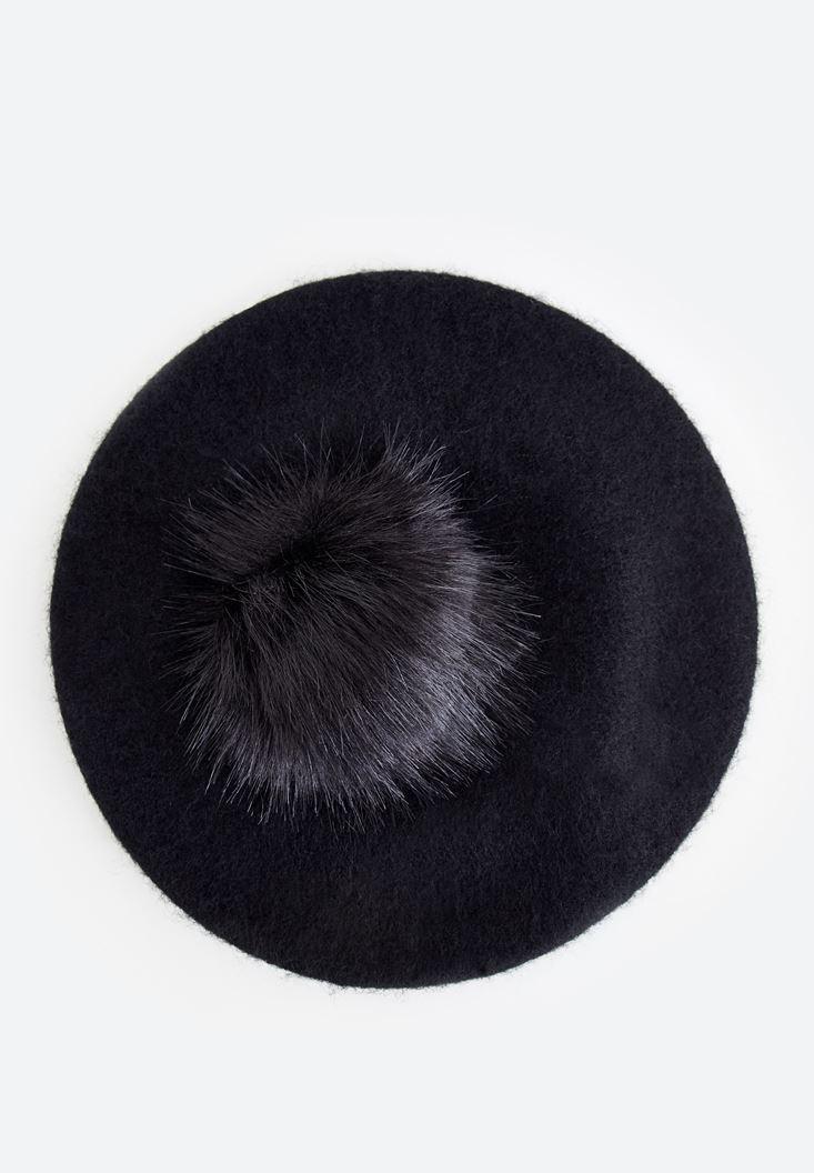 Bayan Siyah Pon Ponlu Şapka