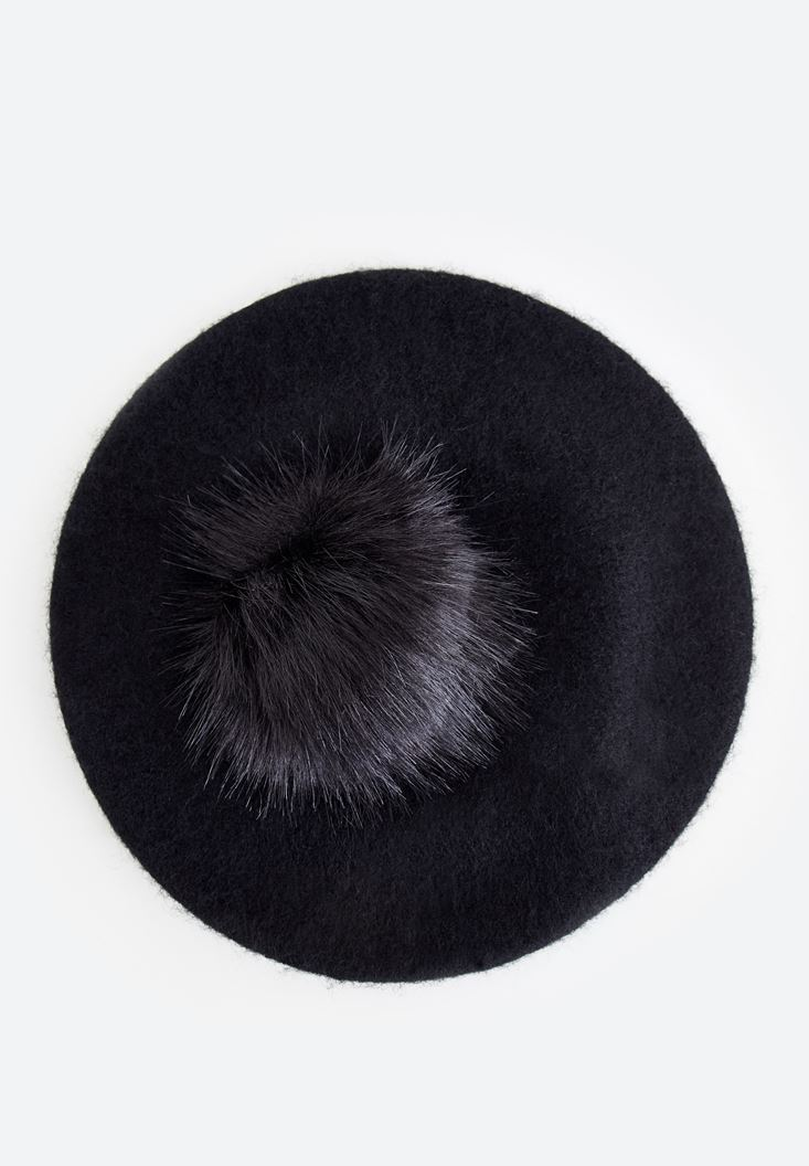 Black Hat with Pom Pom