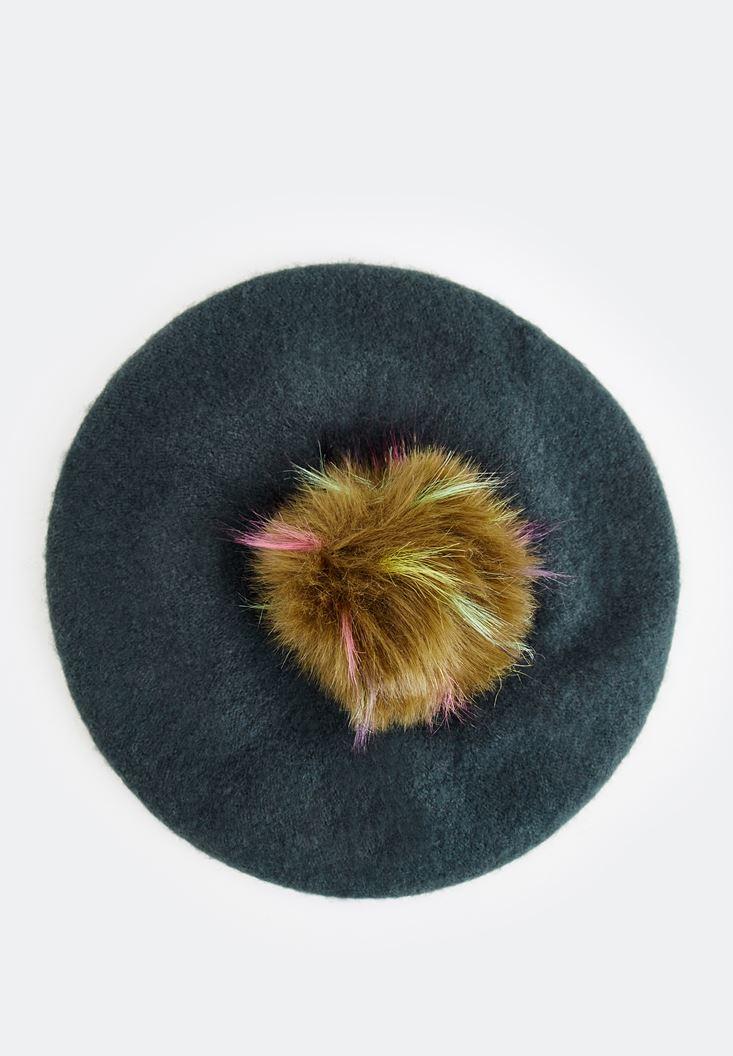 Bayan Yeşil Pon Ponlu Şapka
