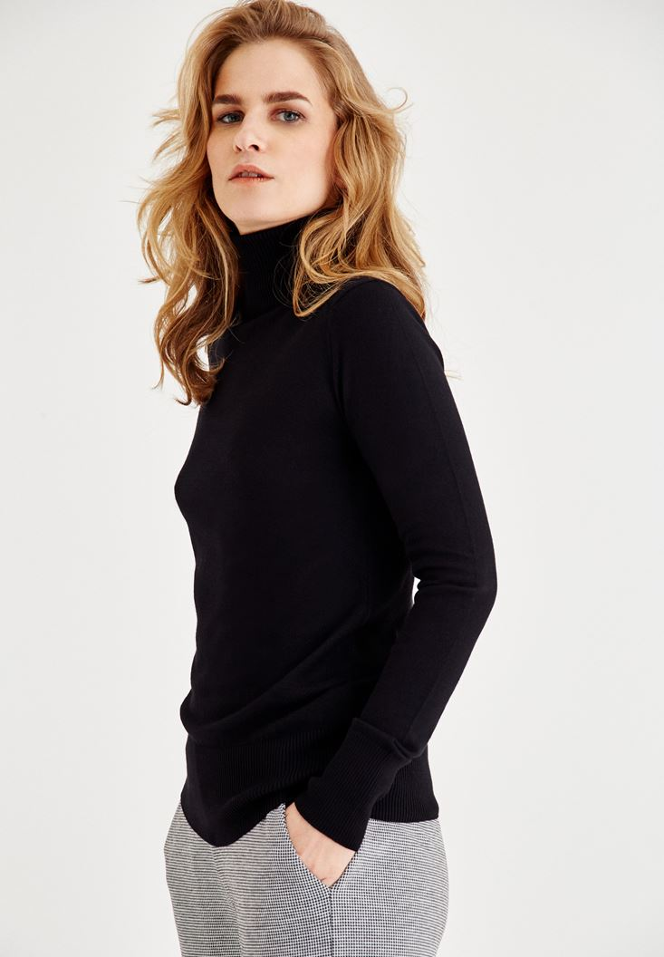 Black Long Sleeve Basic Knitwear