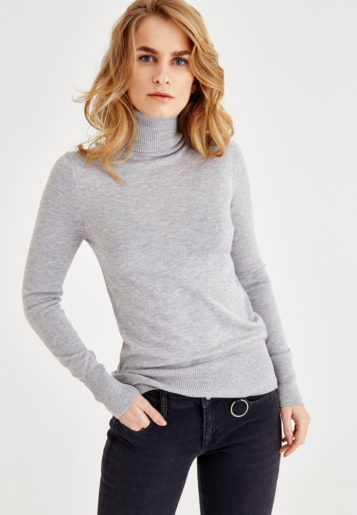 Grey Long Sleeve Basic Knitwear
