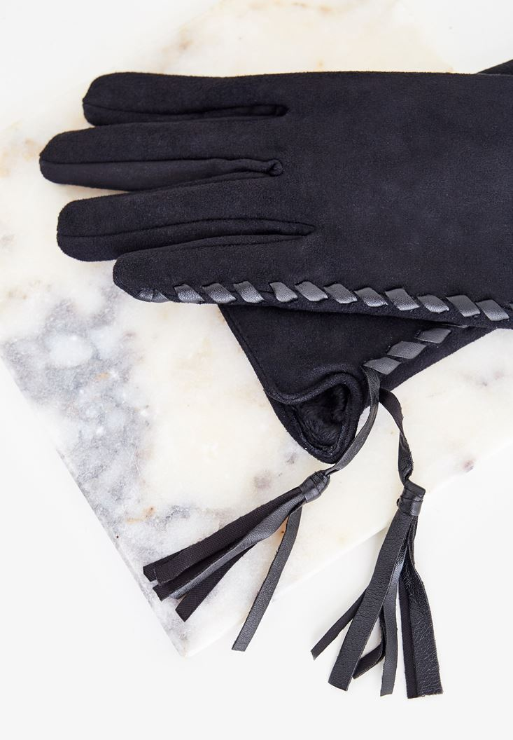 Black Gloves with Leather Details