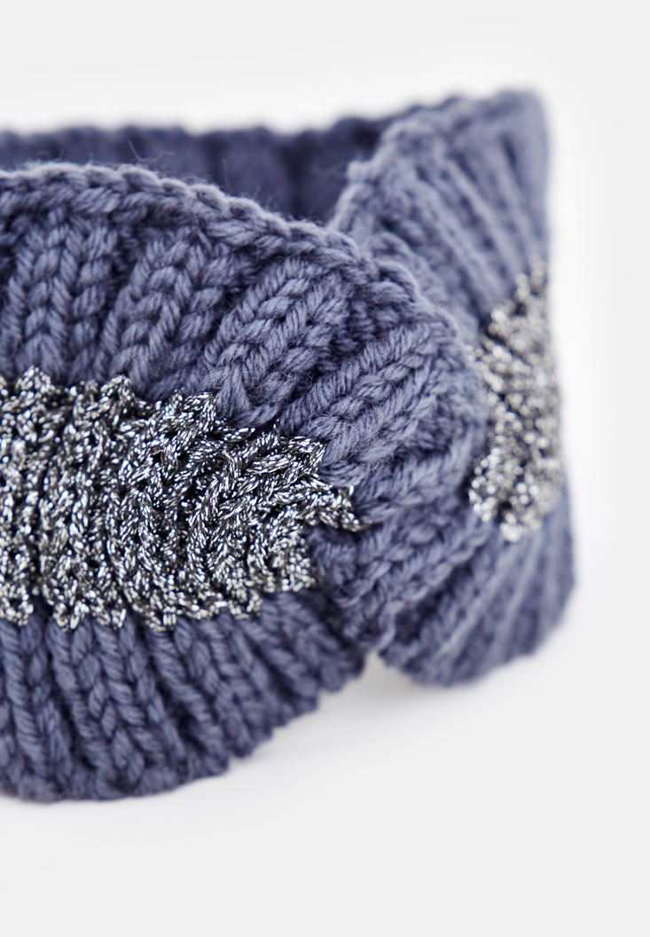 Grey Shiny Knitted Hair Band
