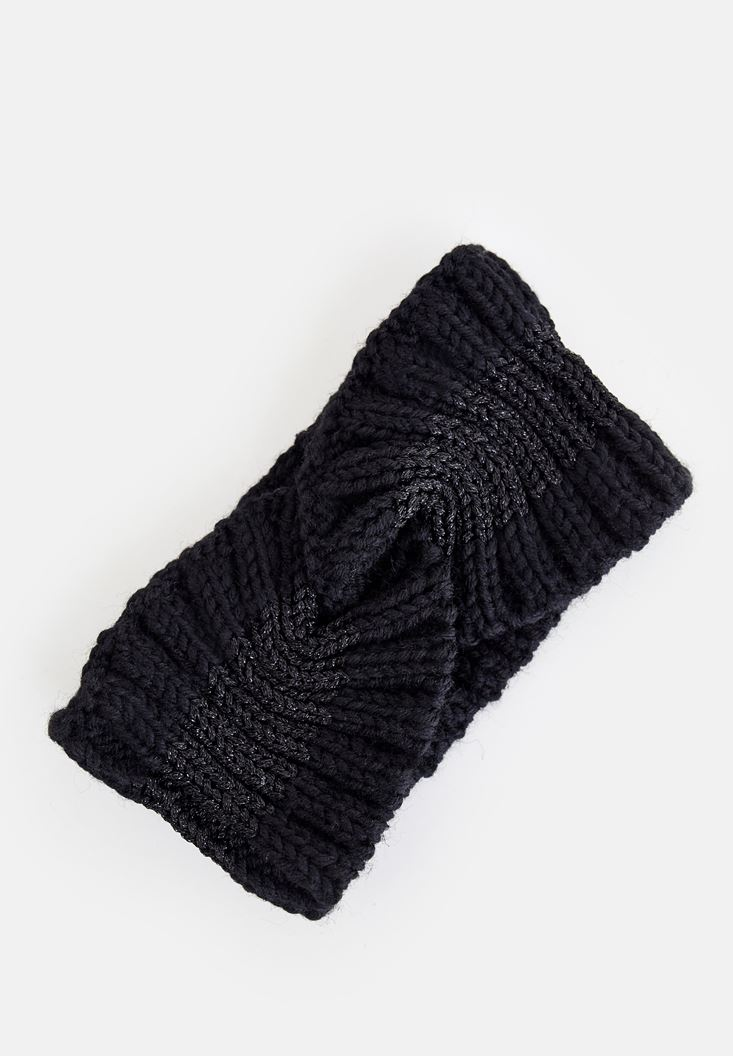 Black Shiny Knitted Hair Band