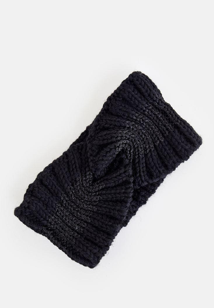 Black Shiny Knitted Hair Band
