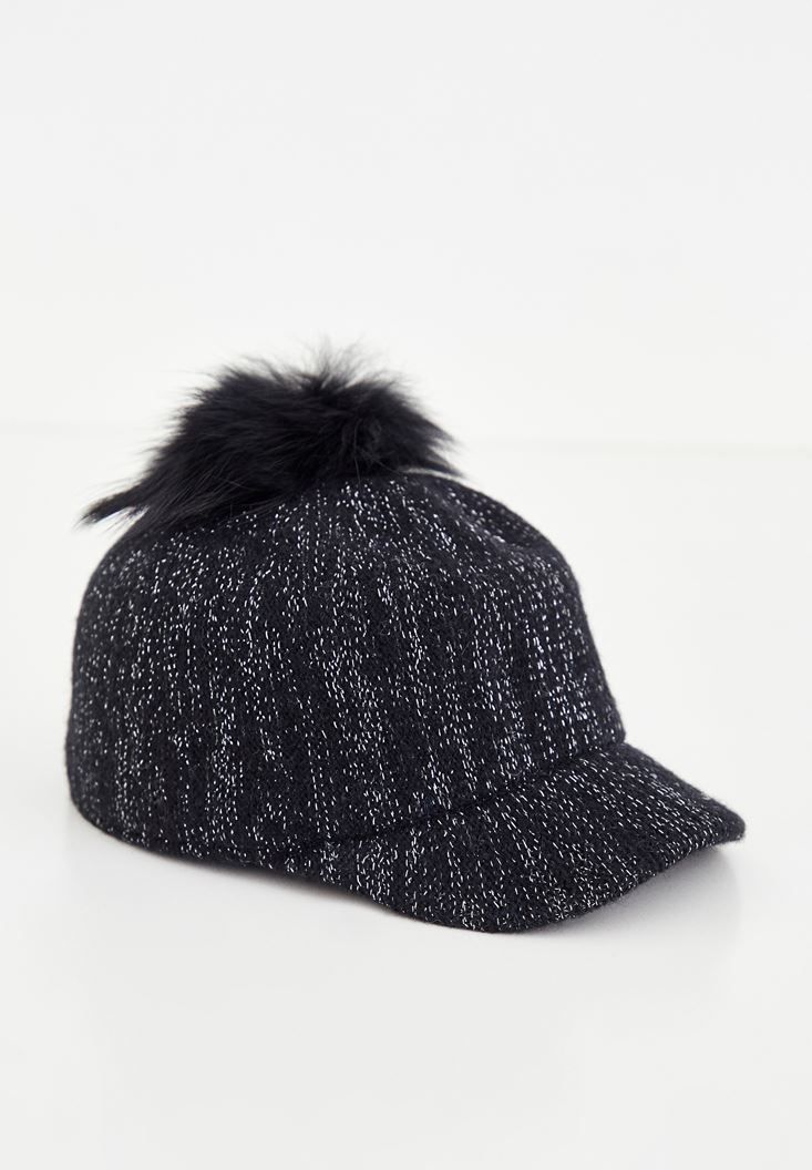Black Shiny Cap with Fur Detail