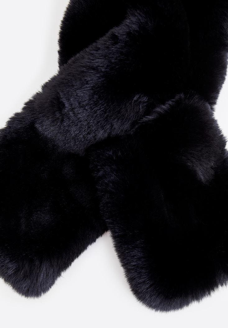 Bayan Siyah Suni Kürk Yaka
