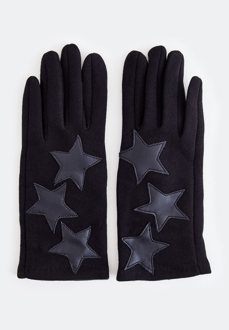 Black Gloves with Star Detail