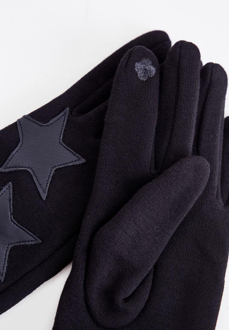 Bayan Siyah Yıldız Desenli Eldiven