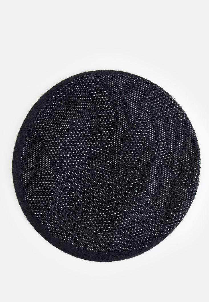 Bayan Siyah Taş Dokulu Şapka