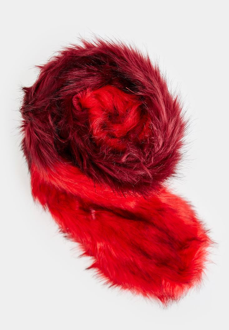 Bordeaux Fake Fur Scarf