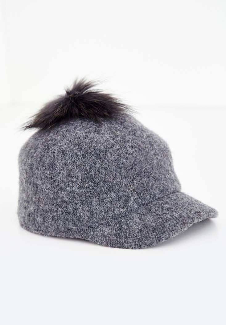 Grey Cap with Fur Detail