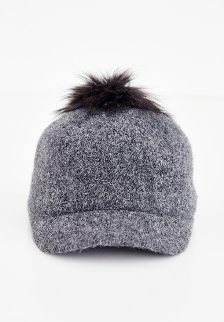 Bayan Gri Tüy Detalı Cap Şapka