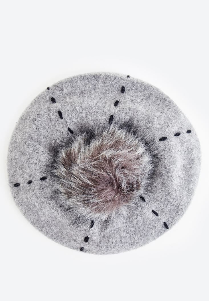 Grey Hat with Fur Detail