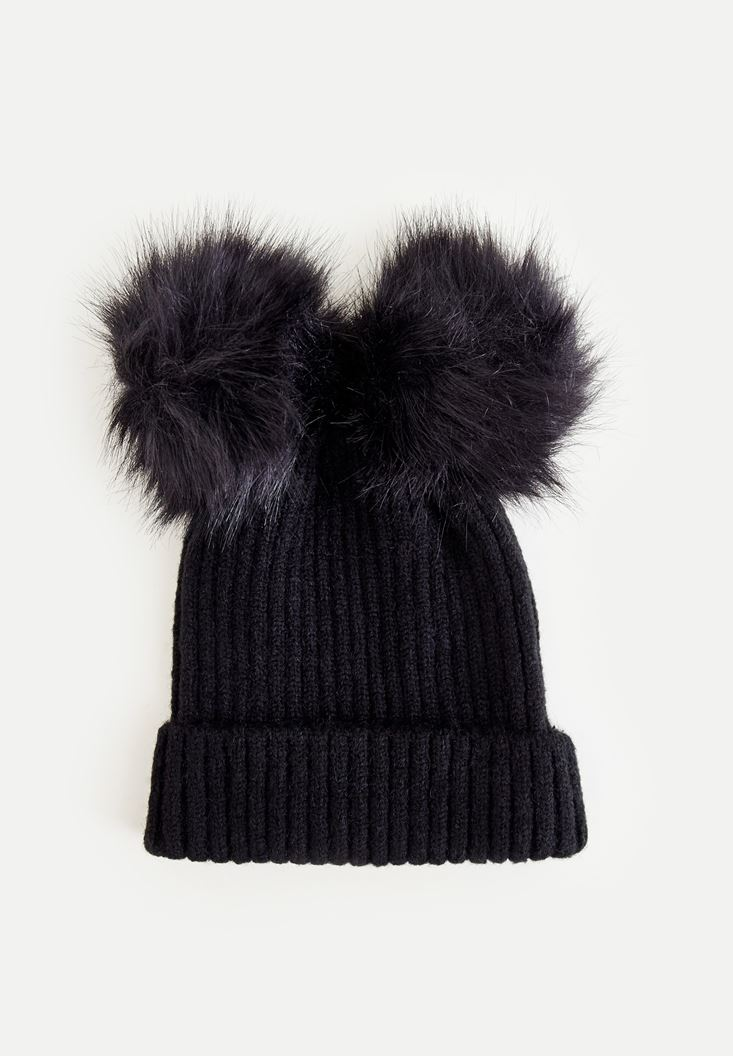 Black Beret With Double Pompom
