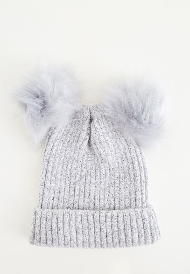 Grey Beret With Double Pompom