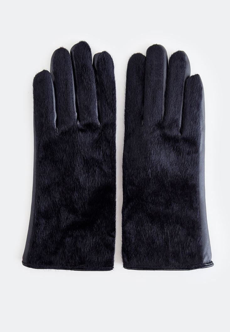 Black Fake Fur and Leather Gloves
