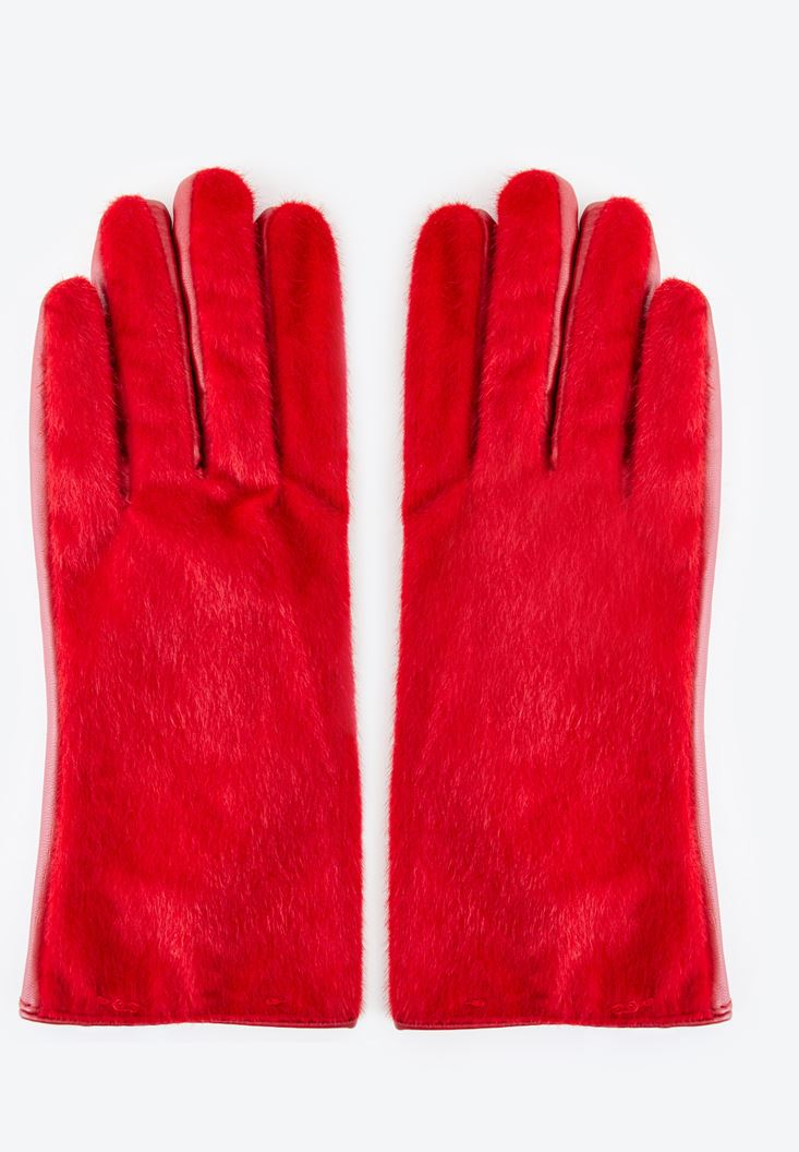 Red Fake Fur and Leather Gloves