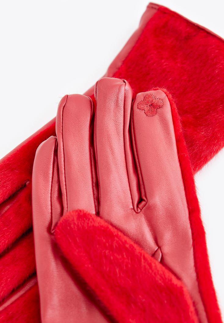 Bayan Kırmızı Suni Kürk ve Deri Eldiven