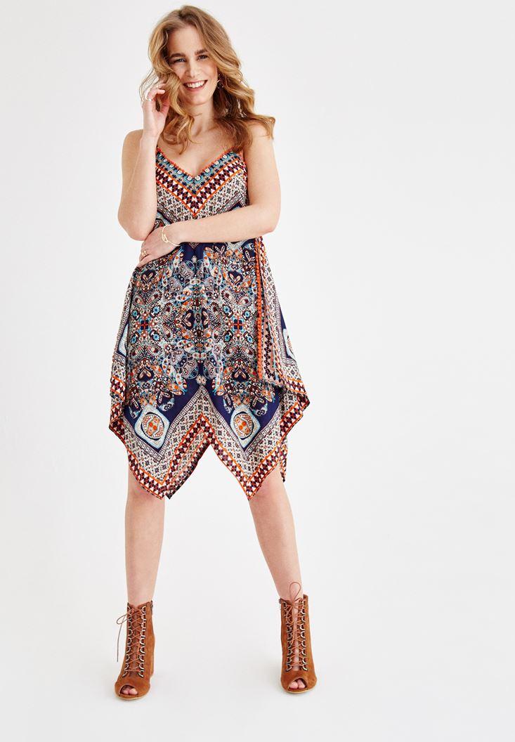 Lacivert V Yaka Desenli Elbise