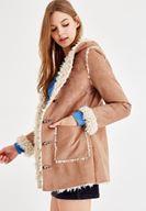 Bayan Kahverengi İçi Suni Kürk Ceket