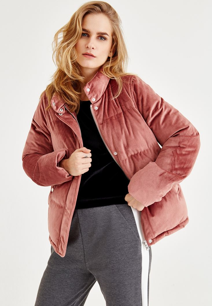 Pink Velvet Down Jacket With Pocket