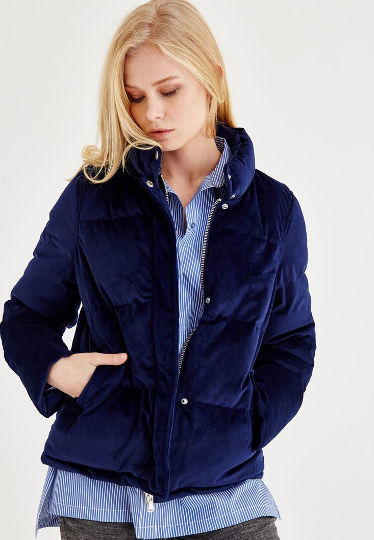 Navy Velvet Down Jacket With Pocket