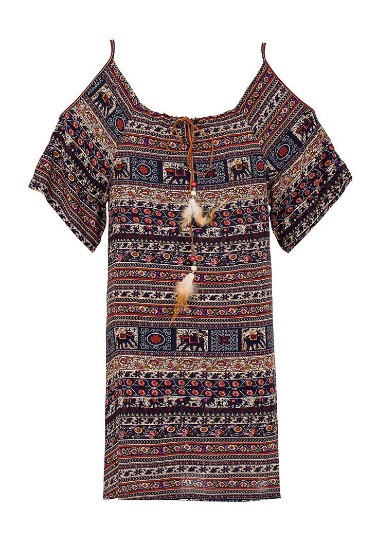 Çok Renkli Etnik Desenli Elbise