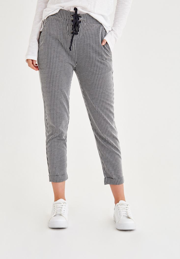 Mixed Striped Pants With Lace Detailed