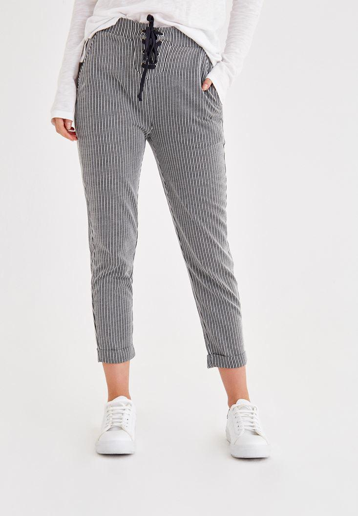 Women Mixed Striped Pants With Lace Detailed