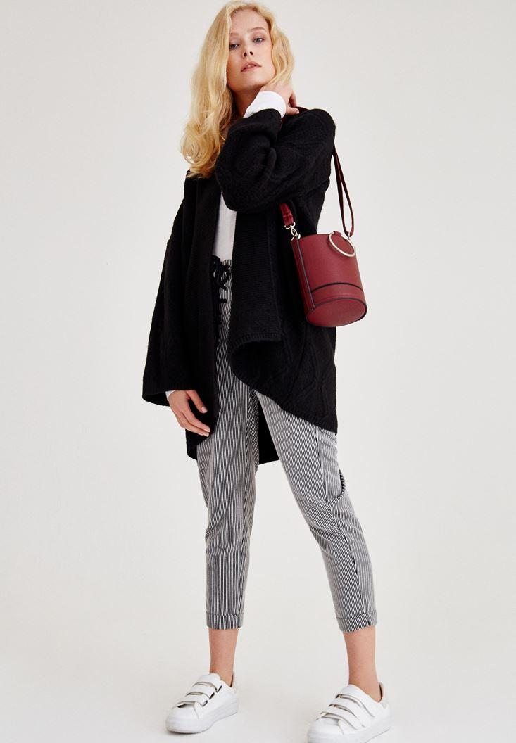 Bayan Çok Renkli Çizgili Önü Bağlama Detaylı Pantolon