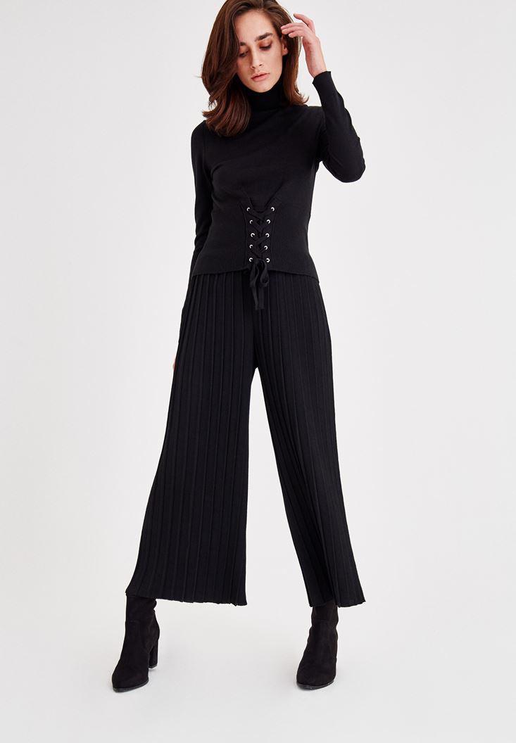 Bayan Siyah Korse Detaylı Boğazlı Triko