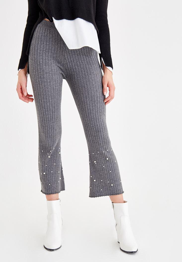 Gri İnci Detaylı Pamuklu Pantolon