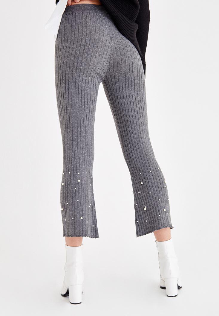 Bayan Gri İnci Detaylı Pamuklu Pantolon