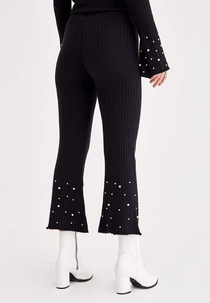 Bayan Siyah İnci Detaylı Pamuklu Pantolon