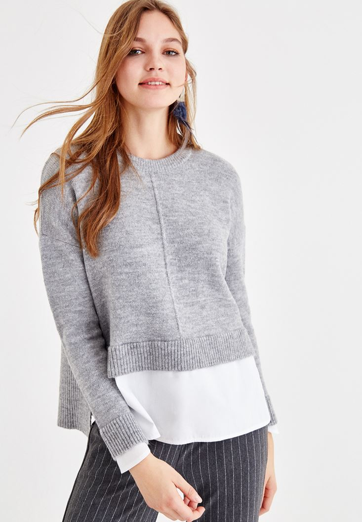 Grey Pullover with Shirt Detail