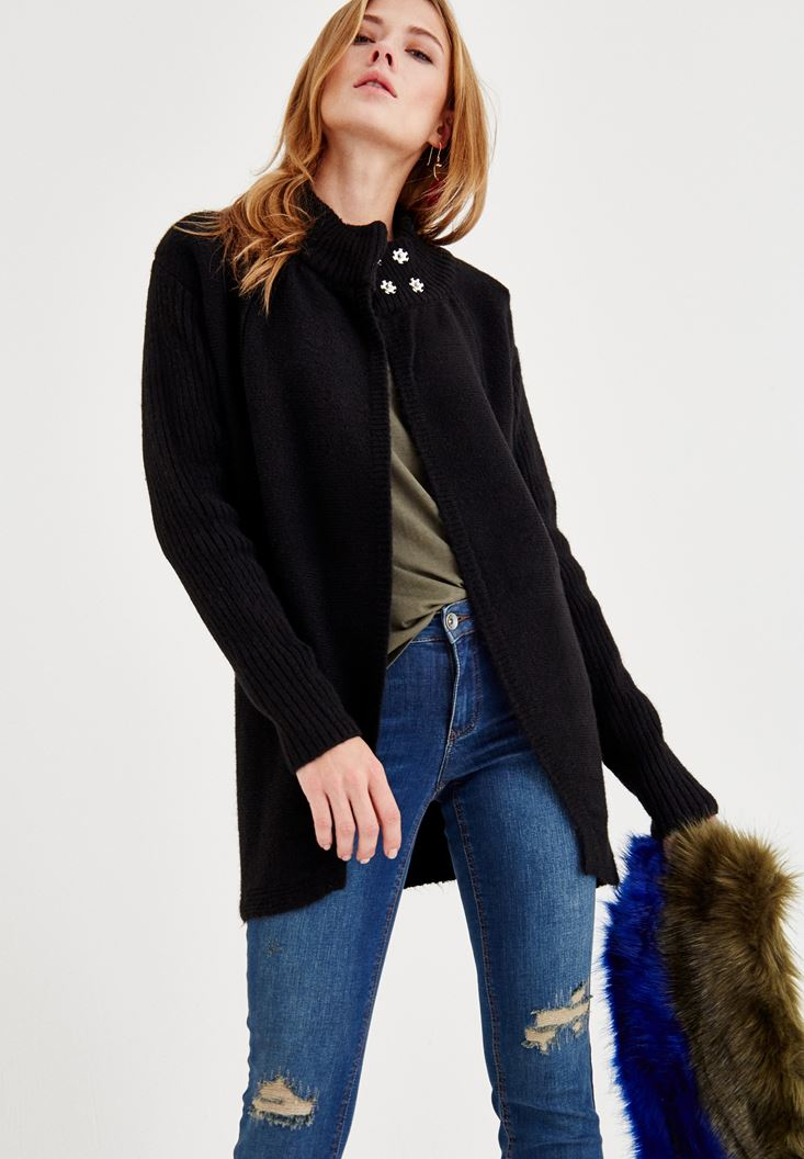 Black Short Cardigan with Neck Detail