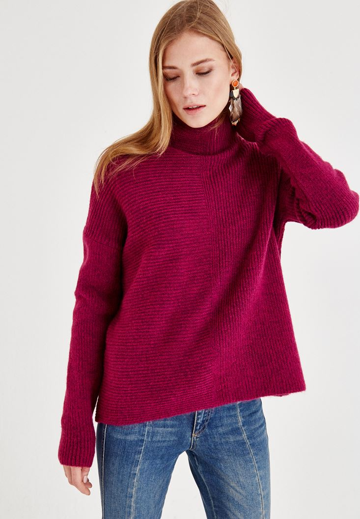 Bordeaux Long Sleeve Pullover with Texture