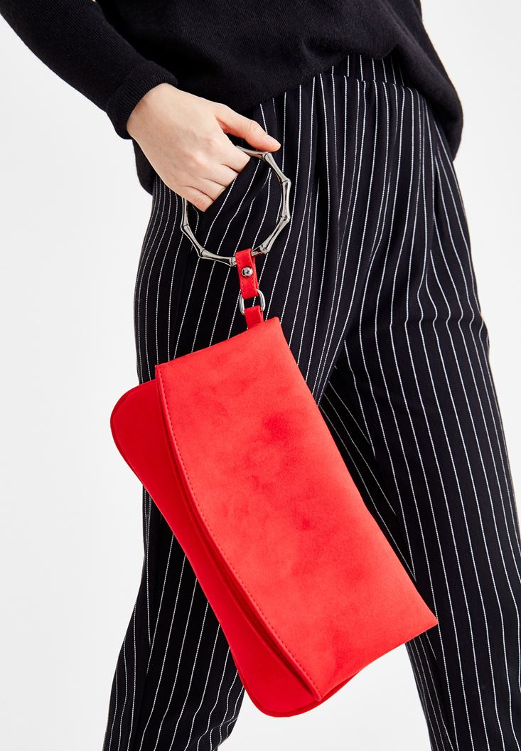 Red Suede Clutch with Details