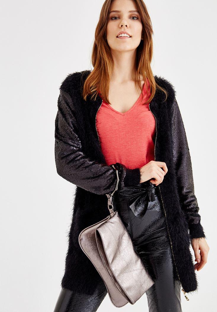 Kırmızı Detaylı Zarf Kesim Çanta