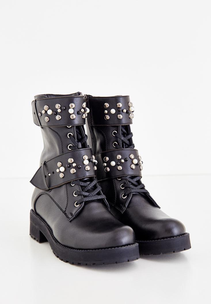 Women Black Pearl Detailed Boot