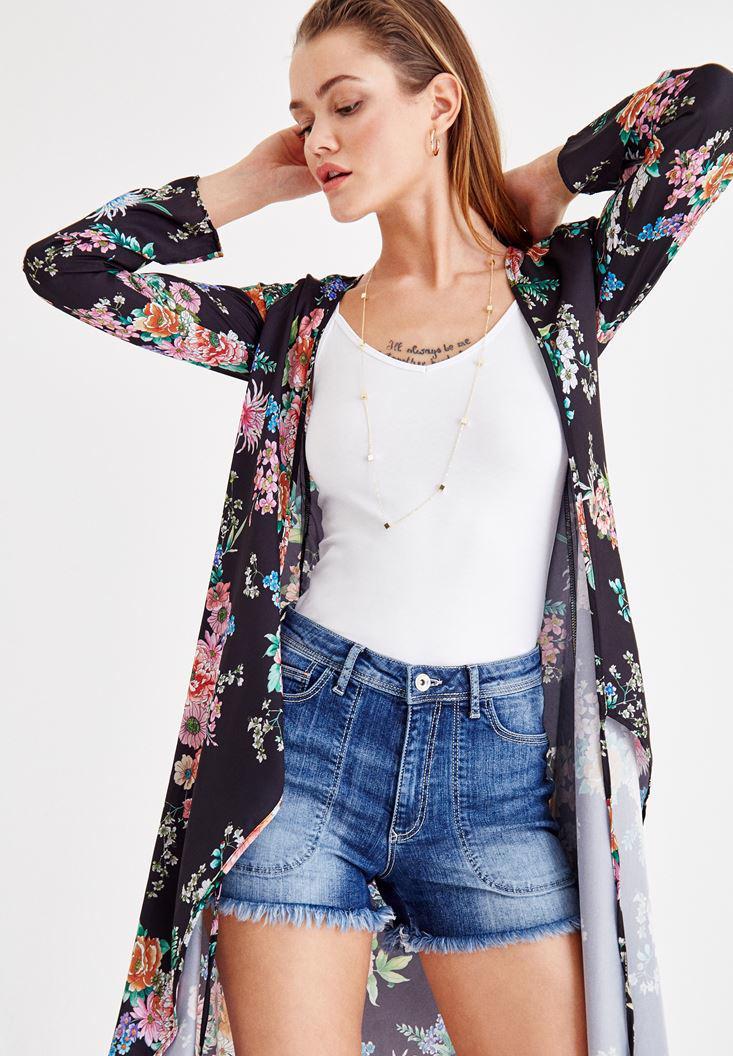 Women Mixed Kimono With Floral Pattern