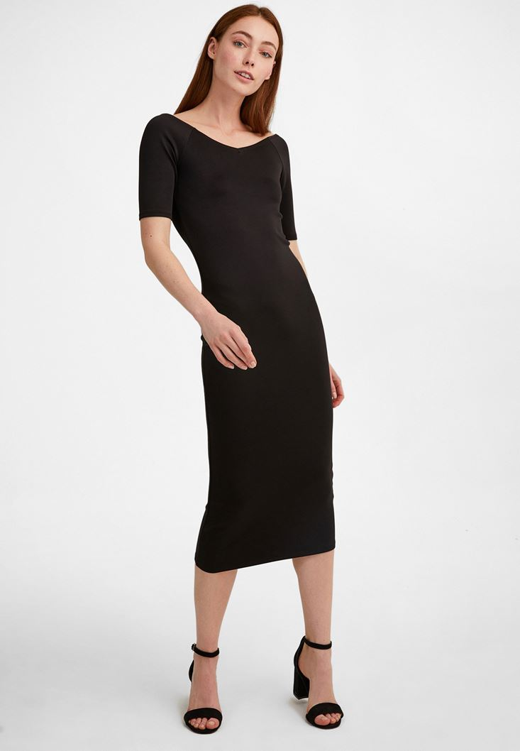 Bayan Siyah Kısa Kollu Diz Altı Elbise