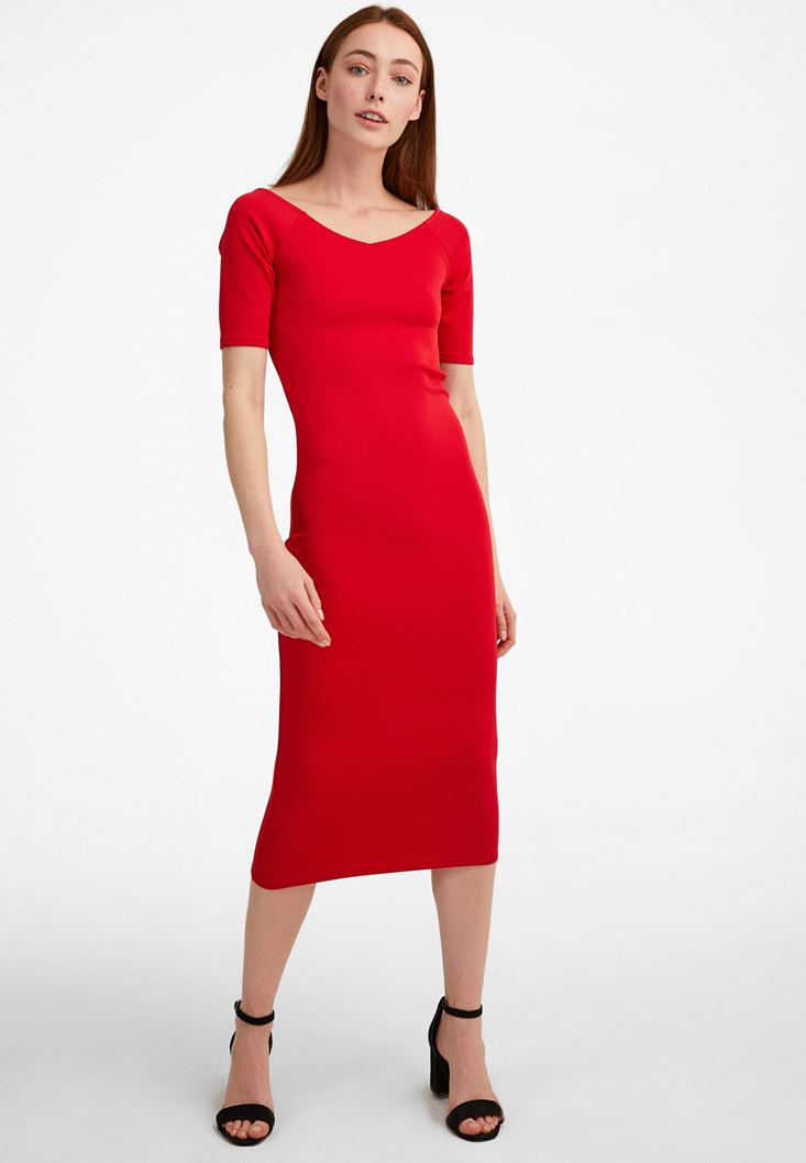 Kırmızı Kısa Kollu Diz Altı Elbise